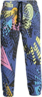 Sweatpants Funny 80s 90s Retro Neon Crash Men's Trousers Durable Hip Hop Pants Sportswear with Pockets