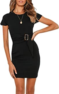 MsLure Women's Casual Knit Dress Short Sleeve Bodycon Tie Waist Mini Dress