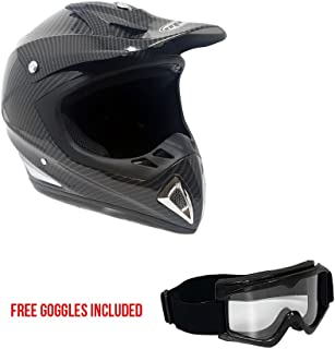MMG 27 Motorcycle Helmet Off Road MX ATV Dirt Bike Motocross UTV - Carbon Fiber, Medium, Includes Goggles