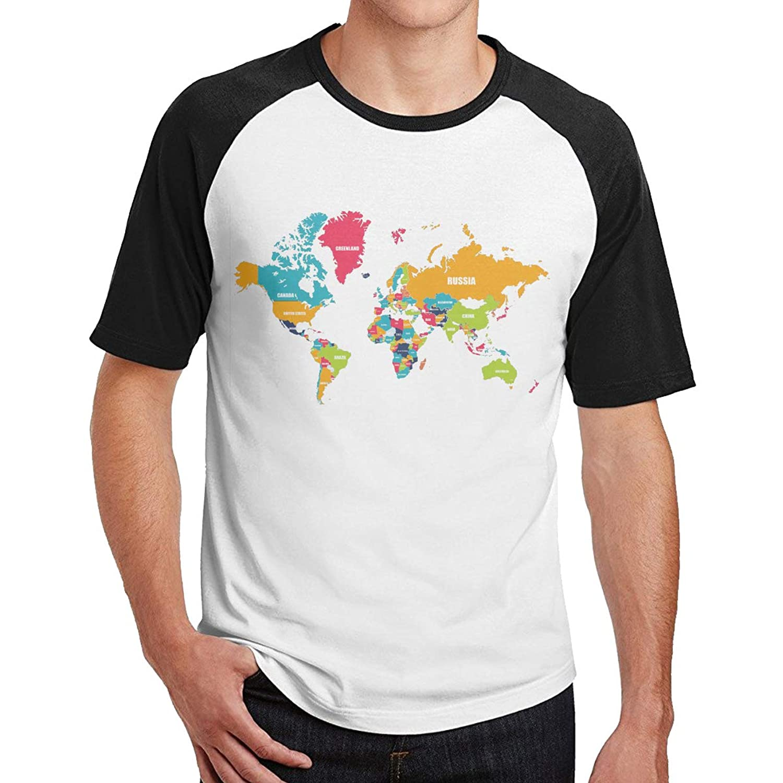 ベーシックTシャツ メンズ 半袖 コットン 世界 地図 シンプル カジュアル ショートスリーブカ クルーネック 快適 吸汗速乾 夏