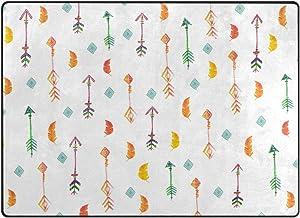 Use7 Arrow - Alfombra étnica Azteca Tribal de Plumas para Sala de Estar o Dormitorio, Tela, 203cm x 147.3cm(7 x 5 Feet)