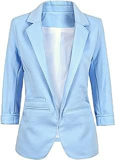H/&E Femmes /à Manches Longues Tweed Plaid Casual Jacket Manteau Open Front Blazer Suits