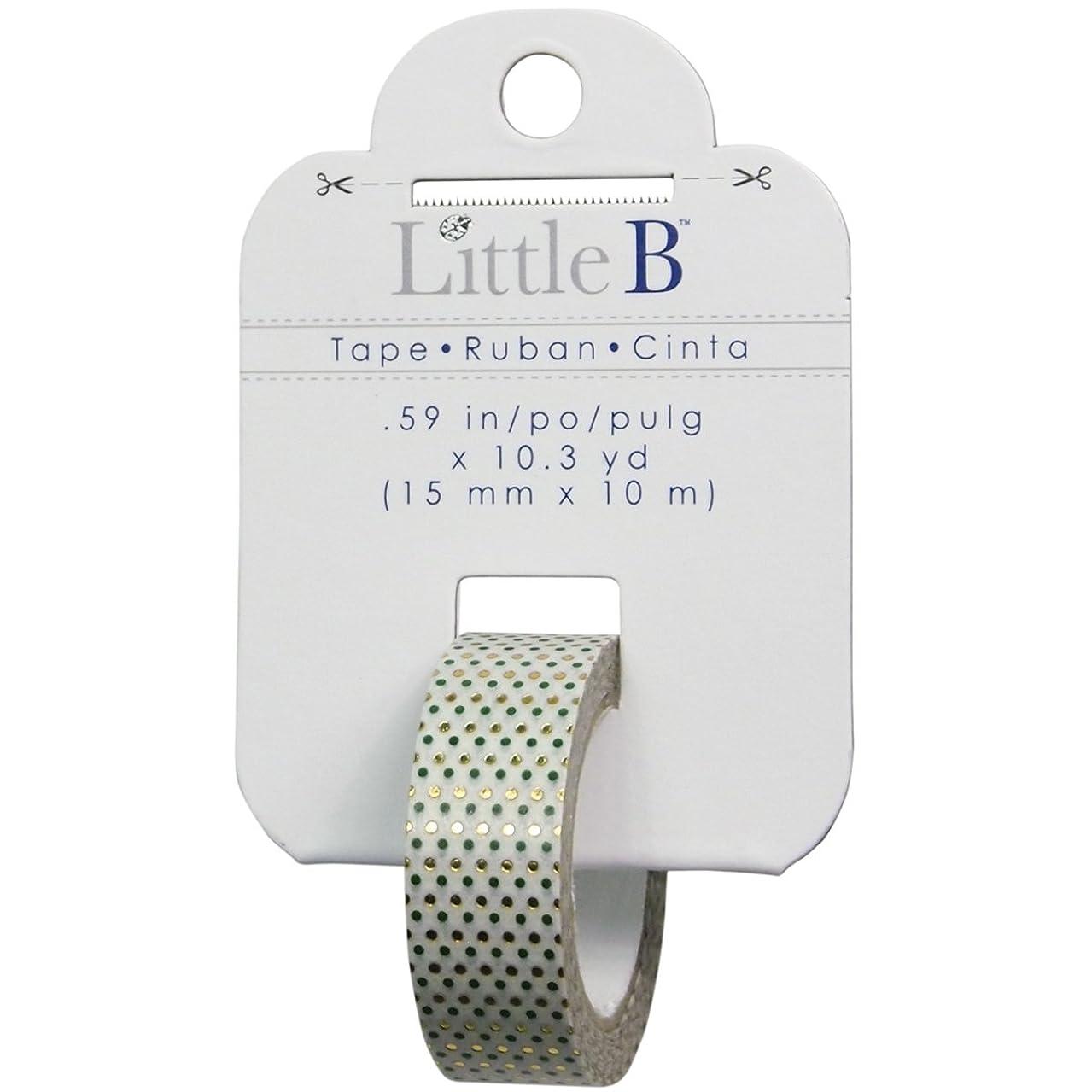 Little B 100567 Decorative Foil Tape, Gold Foil Green Polka Dots