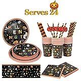 Tao Pipe - Vajilla desechable para Halloween, 121 piezas de suministros de fiesta, sirve para 24...
