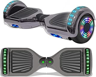 """Longtime 6.5"""" Chrome Metallic Hoverboard Self Balancing Scooter with Speaker LED Lights Flashing Wheels"""