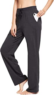 Women's Active Yoga Sweatpants Slight Fleece Straight Open Bottom Lounge Sweat Pants Side Pocketed