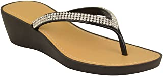 Fashion Thirsty Womens Wedge Jelly Sandals Low Heel Flip Flops Diamante Toe Post