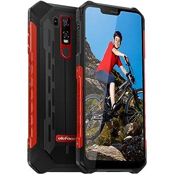 "Waterproof Rugged Phones Unlocked, Ulefone Armor 6E Rugged Cell Phones Unlocked 4G LTE Dual Sim 4G 6.2"" FHD 4GB+64GB,5000Mah Battery, Android 9.0 Helio P70,US Plug, NFC+ Face ID+ UV Senso+GPS Red"