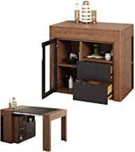 Extendable Wooden Coffee Table Sets Storage Locker, Home Furniture Adjustable Dining Table, Saving Space Modern Square Fur...