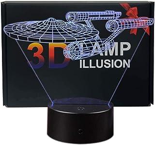Ray-Velocity Lámpara de mesa 3D con iluminación nocturna LED, 7 colores, para decoración de dormitorio de niños