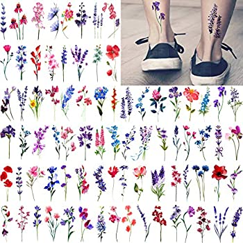 JOEHAPY 20 Sheets Watercolor Lavender Temporary Tattoos Flower For Women Neck Girls Adults 3D Sexy Water Color Floral Sweet Pea Tattoos Temporary Cute Fun Tiny Small Branch Tatoo Set Kits Ankle Wrist