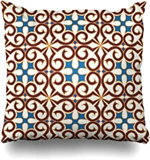 YeaSHARK Throw Pillow Covers Geometric Blue Pattern Tiles for Ceramic More Oriental Moroccan Arabesque Cross Culture Diagonal Zippered Design Square 16