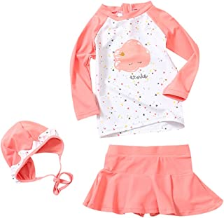 Toddler Baby Girl Long Sleeve UPF 50+ Two Piece Rash Guard Set
