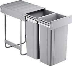 Wesco Bio-Double Inbouw-Afvalbak, Aluminiumgrijs,