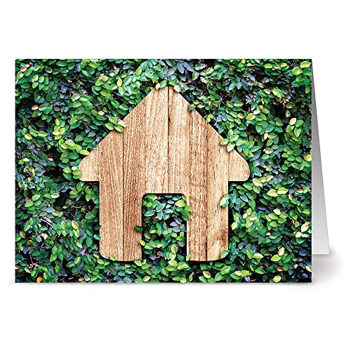 Note Card Cafe All Occasion Greeting Cards with Kraft Kraft Envelopes | 36 Pack | Green Garden House Design | Blank Inside, Glossy Finish | for Greeting Cards, Occasions, Birthdays