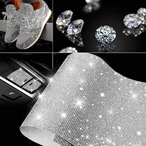 HOB4U Bling Crystal Rhinestone DIY Self-Adhesive Sparkling Rhinestone Stickers Sheet for Car Decoration Gift Decoration Phone Decoration, Silver, 9.4' x 7.9'