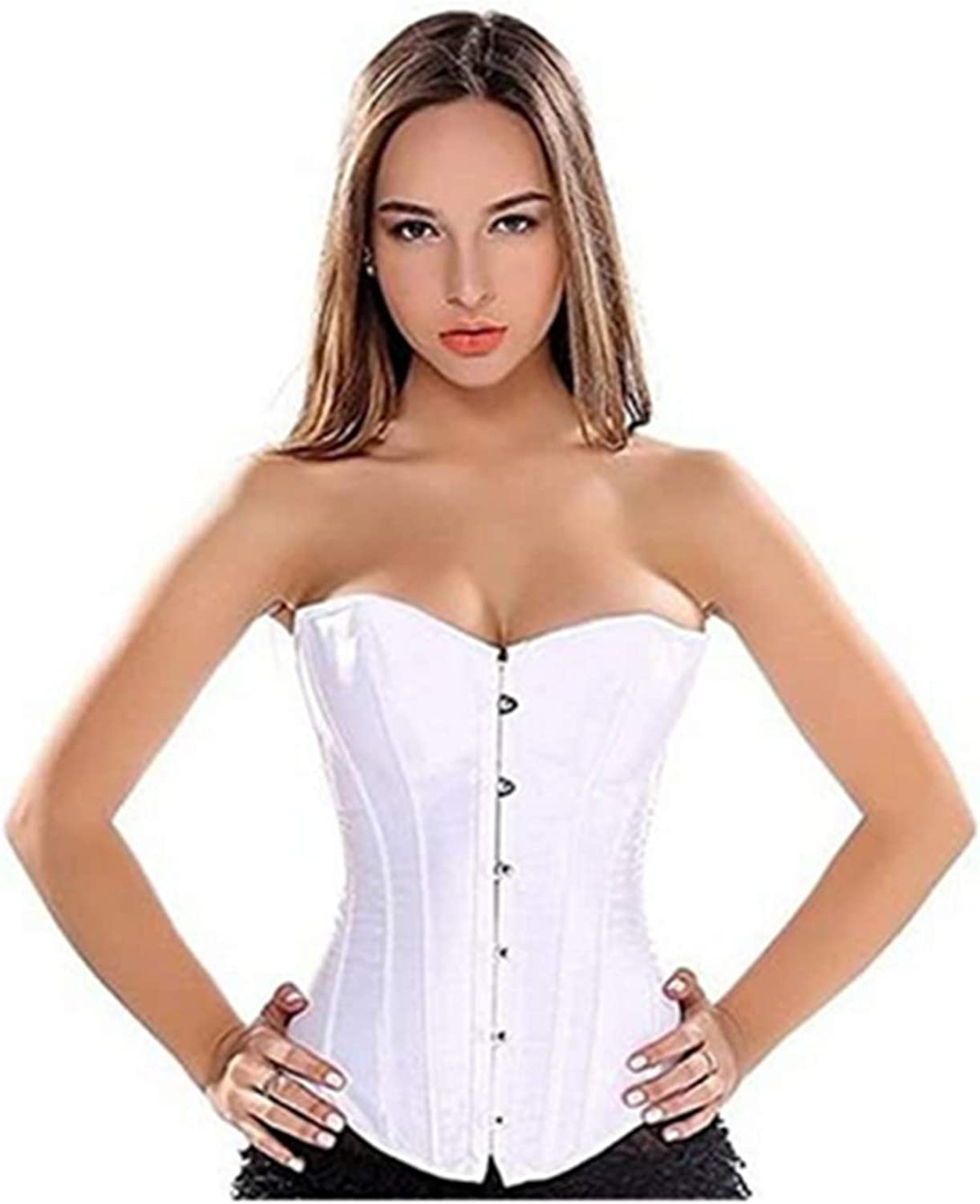 Corset Tops for Women,Womens Plus Size Satin Overbust Corset Bustier,Lace Up Boned Satin Bridal Brocade Top Shapewear Outfit