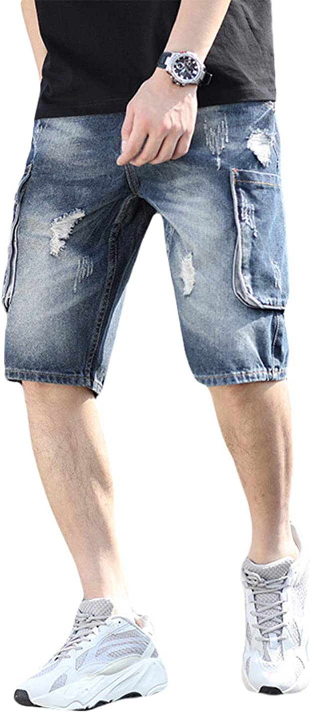 PAODIKUAI Men Casual Loose Haren Ripped Distressed Denim Shorts with Multiple Pockets