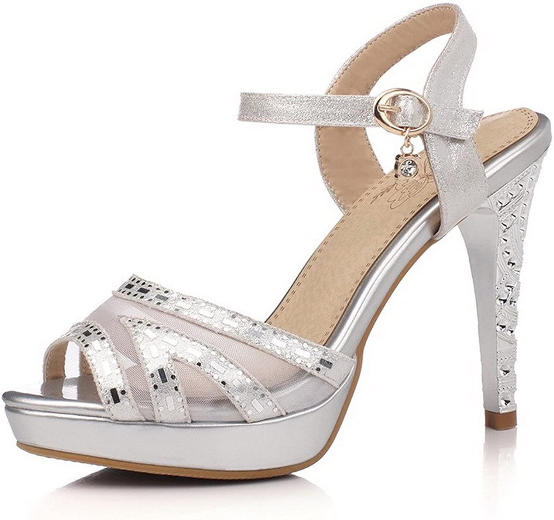 WeenFashion Women's High-Heels Soft Material Solid Buckle Peep Toe Sandals