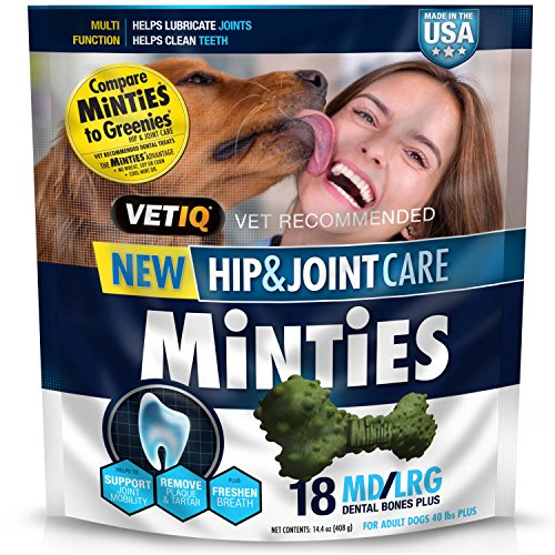 Minties by VetIQ Hip and Joint Arthritis Medicine Bone for Dogs - Dental Bone Dog Medicine Treat for Hip and Joint
