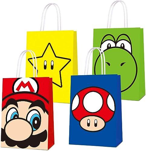 16 PCS Party Favor Bags for Super Bros Mario Birthday Party Supplies, Party Gift Bags for Super Bros Mario Party Favo...