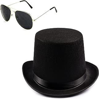 Guitar Player Costume Accessory Felt Top Hat - Aviator Sunglasses