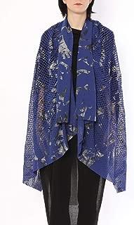 ミハイル ギニス アオヤマ MICHAIL GKINIS AOYAMA 着る ART ストール [登録意匠] 日本製 ハイテク ニット MADE IN TOKYO ギリシャ 大判 コットン Cotton BLUE SILVER ブルー シルバー