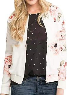 Macondoo Women's Long Sleeve Floral Zip Up Print Short Coat Baseball Jacket