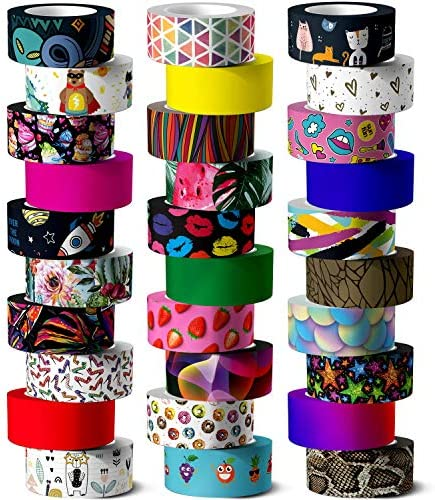 Washi Tape Set 30 Rolls of 15 mm Wide Colored Masking Tape for Kids and dults Scrapbooking Supplies product image