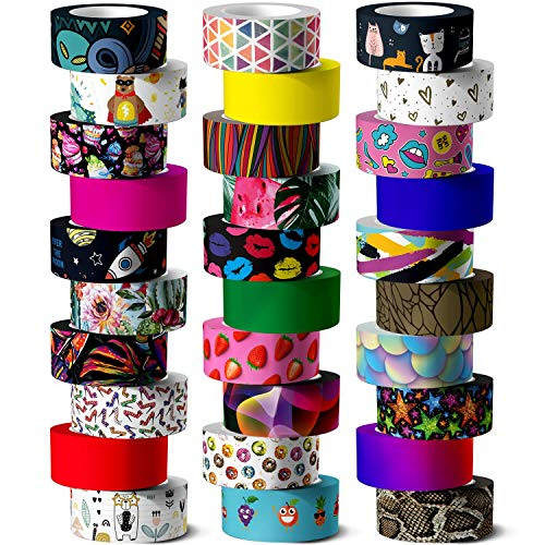 Washi Tape Set, 30 Rolls of 15 mm Wide Colored Masking Tape for Kids and Аdults, Scrapbooking Supplies, Decorative Tape for DIY Craft, Gift Wrapping, Bullet Journals, Planners, Party Decorations