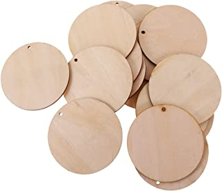 Baoblaze A Pack of Unfinished Solid Round Wood Discs Coins Board Tags with Hose, DIY Family Birthday Wooden Boards Tags - ...