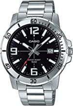 Casio MTP-VD01D-1BV Men's Enticer Stainless Steel Black Dial Casual Analog Sporty Watch