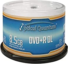 Optical Quantum OQDPRDL08WIP-H 8 X 8.5GB DVD+R DL White Inkjet Printable Double Layer Recordable Blank Media , 50-Disc Spi...