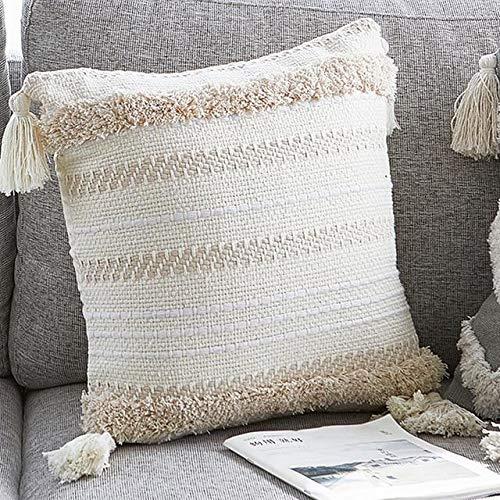 Terraberk Decoración del hogar Moderna Almohada Minimalista, cojín para Silla - Borla - Pack: Blanco 45x45