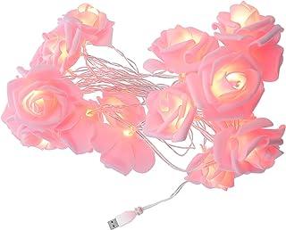 BESPORTBLE Flower Rose Vine String Lights 20 LED Artificial Rose Garland Fairy Lights USB Plug in Party Twinkle Lights for...