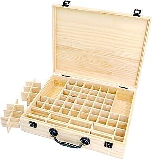 エッセンシャルオイル収納ボックス 収納ケース 保存ボックス パイン製 取り外し可能なメッシュ 70グリッド 持ち運び便利 junexi