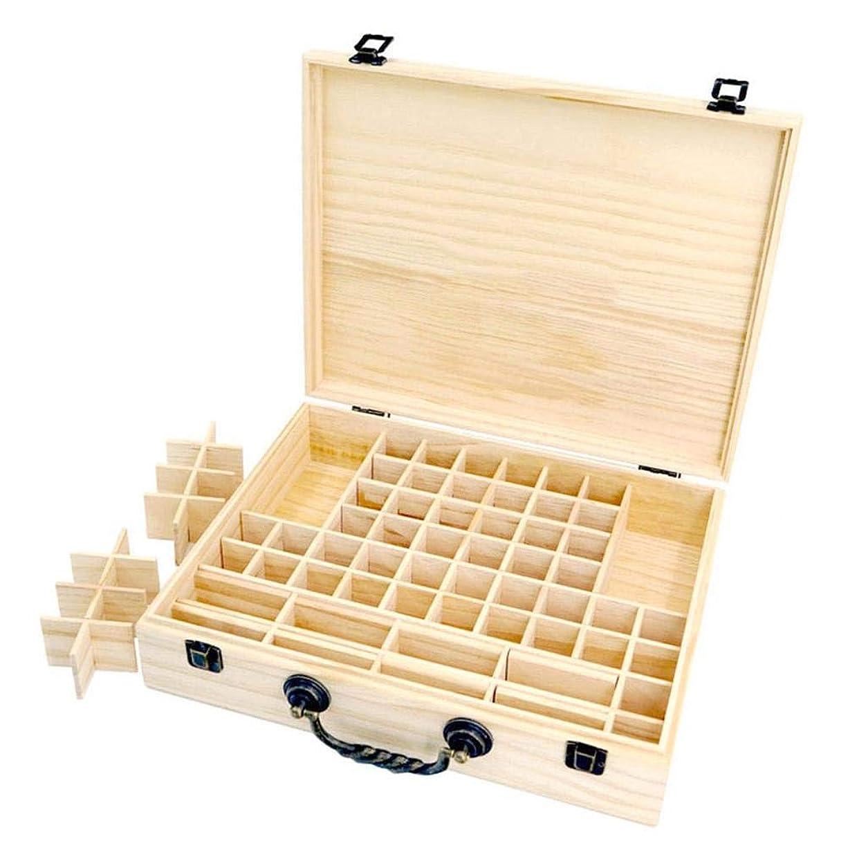 集中的な精神同情的エッセンシャルオイル収納ボックス 収納ケース 保存ボックス パイン製 取り外し可能なメッシュ 70グリッド 持ち運び便利 junexi