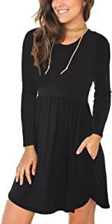 Women's Long Sleeve Casual Loose T-Shirt Dresses with Pocket