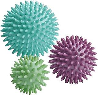 ResultSport® Pack of 3 - Spiky Massage Balls Stress Reflexology - 6cm, 8cm, 10cm - Trigger Point Massage - Myofasical Ball, Exercise Ball, Lacrosse Ball, Environmental Friendly plastic, PAH and Phthalates Free
