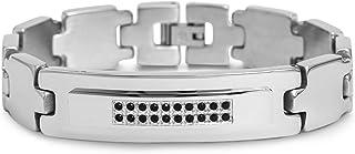 Steve Madden Stainless Steel Black Crystal ID Bracelet for Men