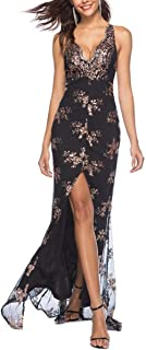 Sleeveless Sequin Dress with Floral Lace Dress Front Slit Cocktail Dresses Women's Sexy V Neck Backless Maxi Dress, Cloth (Color : Black, Size : XL)