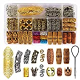 98 Pieces Hair Tube Beads Dreadlocks Beads Hair Braiding Jewelry Hair Decoration Accessories,Barrel Beads Jewelry Hair Decoration Accessories,14 Styles