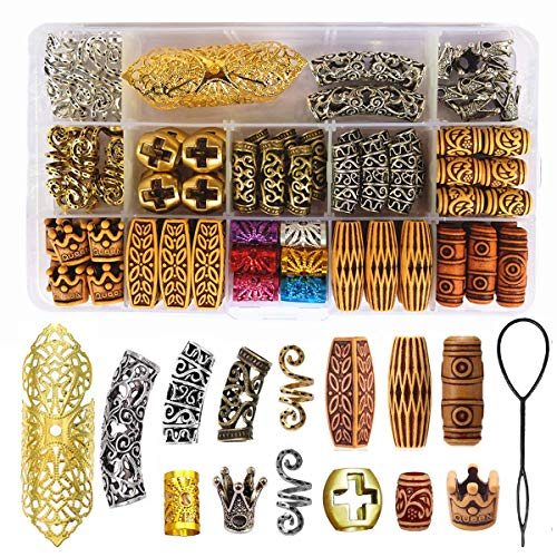 98 Pieces Hair Tube Beads Dreadlocks Beads Hair Braiding Jewelry Hair Decoration Accessories,Barrel Beads Jewelry Hair Decoration Accessories,14 Styles