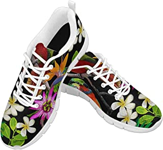 Zenzzle Womens Fashion Classic Sport Sneaker Outdoor Walking Shoes Exotic Birds and Beautiful Flowers Size US6-12