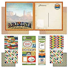 Scrapbook Customs Themed Paper and Stickers Scrapbook Kit, Arizona Vintage, 12 inch by 12 inch