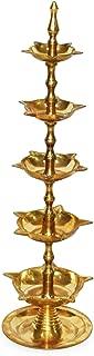 Craftsman Diwali Gift/Diwali Deepawali Decoration Handmade Indian Heavy Brass 5 Steps Panchmahal Diya Lamp Engraved 5 in 1 Adjustable Dia with Beautiful Peacock on top.Indian Gift Items