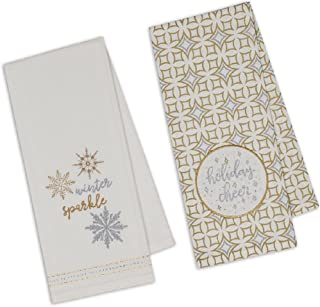 Design Imports DII Christmas Themed Holiday Cheer and Winter Sparkle Embellished Towel Bundle