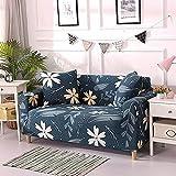 AHKGGM Funda de sofá Estampada Hojas Azul Oscuro y Blancas 2 plazas: 145-185cm