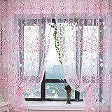 Sharplace Blumen Tüll Voile Fenstervorhang Panel Schiere Vorhänge Gardinen, 200 x 100cm - Rosa, 200 x 100cm