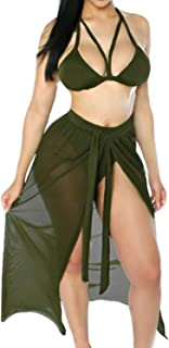 Women's Halter Neck Cut Out 3 Pieces Swimwear with Mesh Maxi Skirt